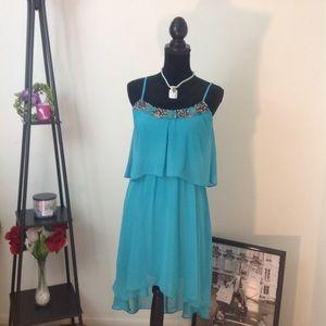 Bisou Bisou Women H/L Beaded Turquoise Dress Sz-10